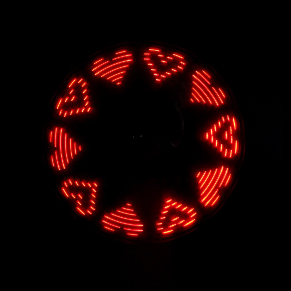 Unique LED Love Pattern Handheld Mini Fan Super Mute Battery Operated for Cooling Cute
