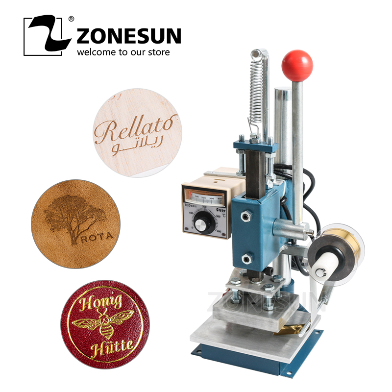ZONESUN 5x7 8x10 10x13cm220V Maunal Stamping Machine Hot Foil Paper Wood Leather logo machine 150W Heat Press Machine applicatori di etichette manuali