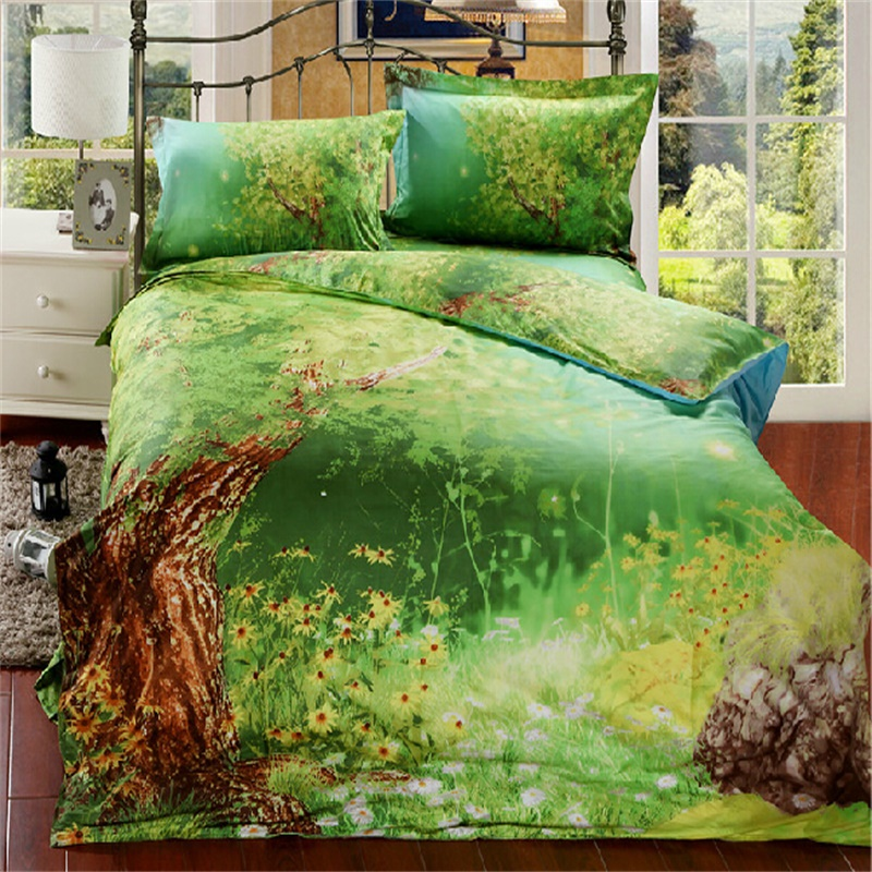 Forest Bed: New 100% Cotton Bedclothes Queen Size,3D Bedding Sets