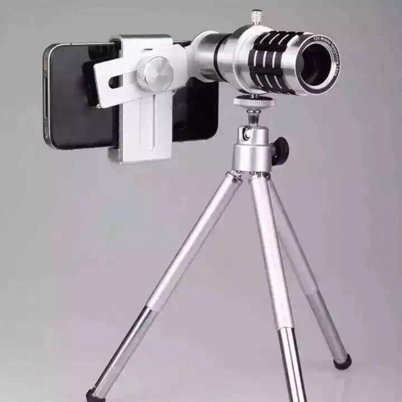 bilder für 12x-zoom-kamera Teleobjektiv-teleskop Teleskop 3in1 Clip auf Objektiv Kit Weitwinkel Makro für IPhone 6 S Samsung s7