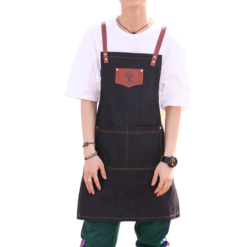Image 3 - New fashion denim aprons Cortex apron for the kitchen unisex Work delantal bartender pinafore bib pocket gift for man smocks-in Aprons from Home & Garden