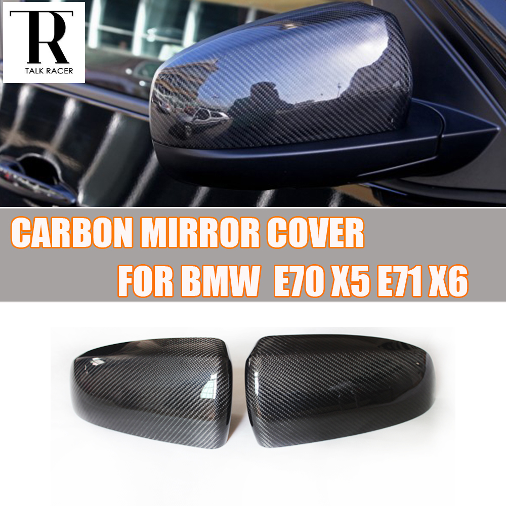 E70 E71 Carbon Fiber ADD ON & Replaced Style Rear View Side Mirror Cover Cap for BMW E70 X5 E71 X6 2007 - 2013 ( not fit M )