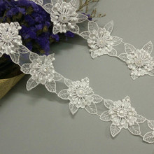 1 yard White Polyester Pearl 3D Flowers Embroidered African Lace Trim Ribbon Fabric Handmade Sewing Craft For Hat Decoration