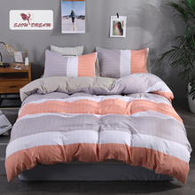 SlowDream Orange Striped Bedspread Sheet Duvet Cover Set Flat Sheet Pillowcase Home Decor Bedding Set Adult Double Bed Linens