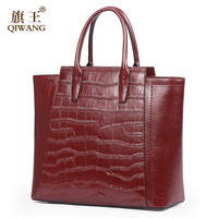 QIWANG Fashion Mother Bags Women New Year Vintage Bag Wine Luxury High Quality Fashion Alligator Tote Trapeze Handbag Women