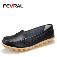 FEVRAL New 2020 Woman Genuine Leather Casual Shoes Slip On Woman Flats