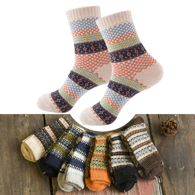 16 Colors Men Women Vintage Striped Totem Winter Socks Teenager Merino Wool Socks Rabbit Wool Thick Thermal Socks Art For Male