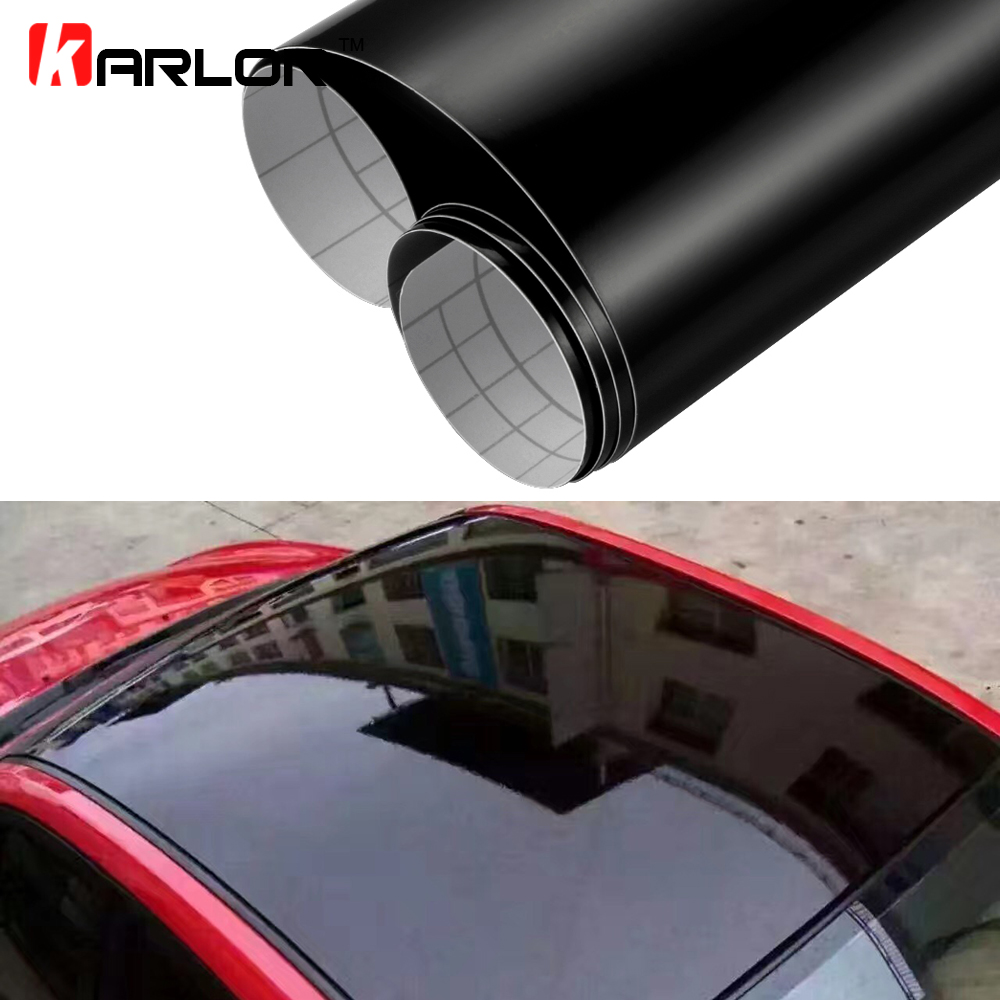 1 35MX2M 3M Glossy Car Skylight Film With Bubble Free Black Car Roof Vinyl Film Stickers