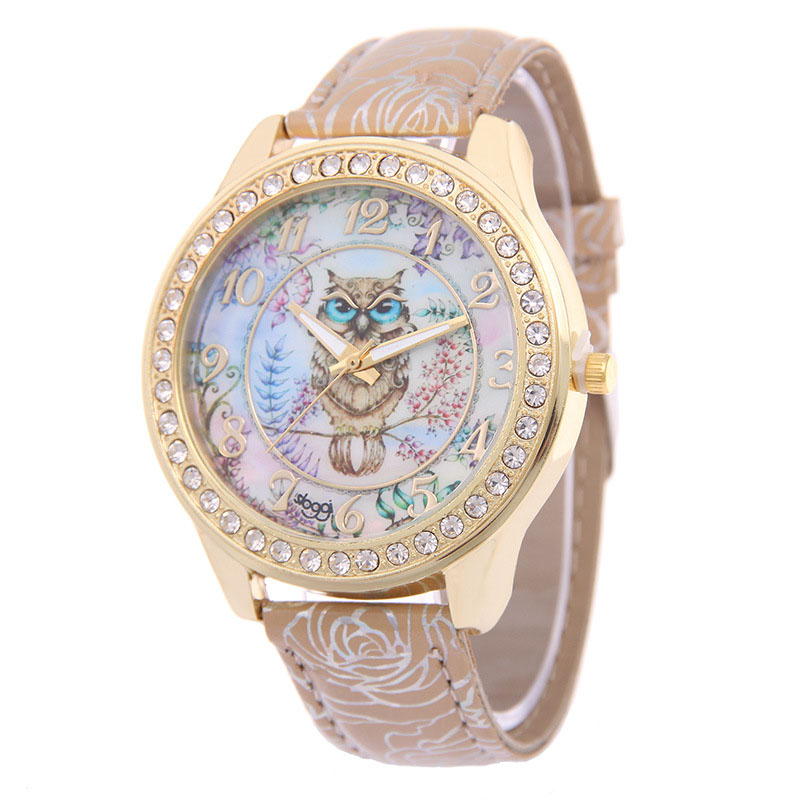 Women Quartz Wrist Watch Owl Pattern Dial With PU Leather Watch Band Casual Watches LL@17