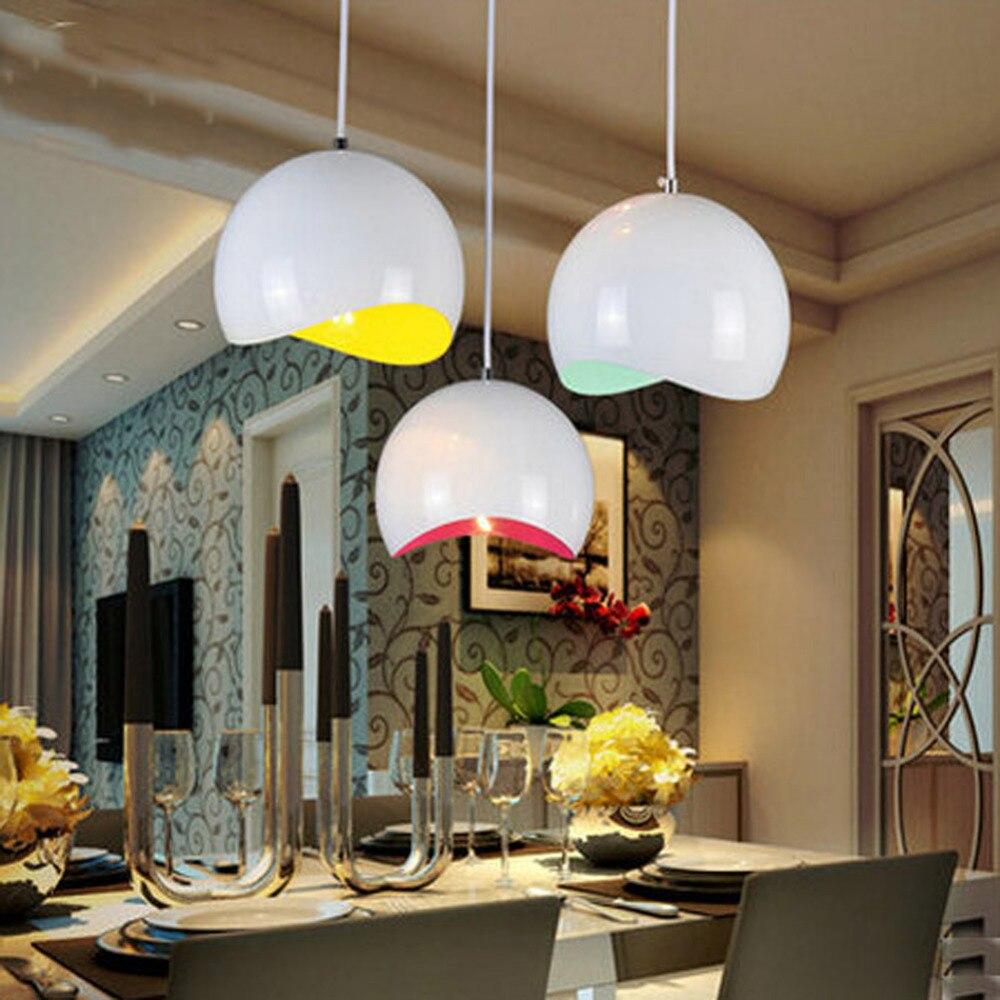 Eenvoudige moderne aluminium halve cirkel led overhandigen lampen livingroom creatieve eierschaal drie kleuren hanglampen restaurant bar