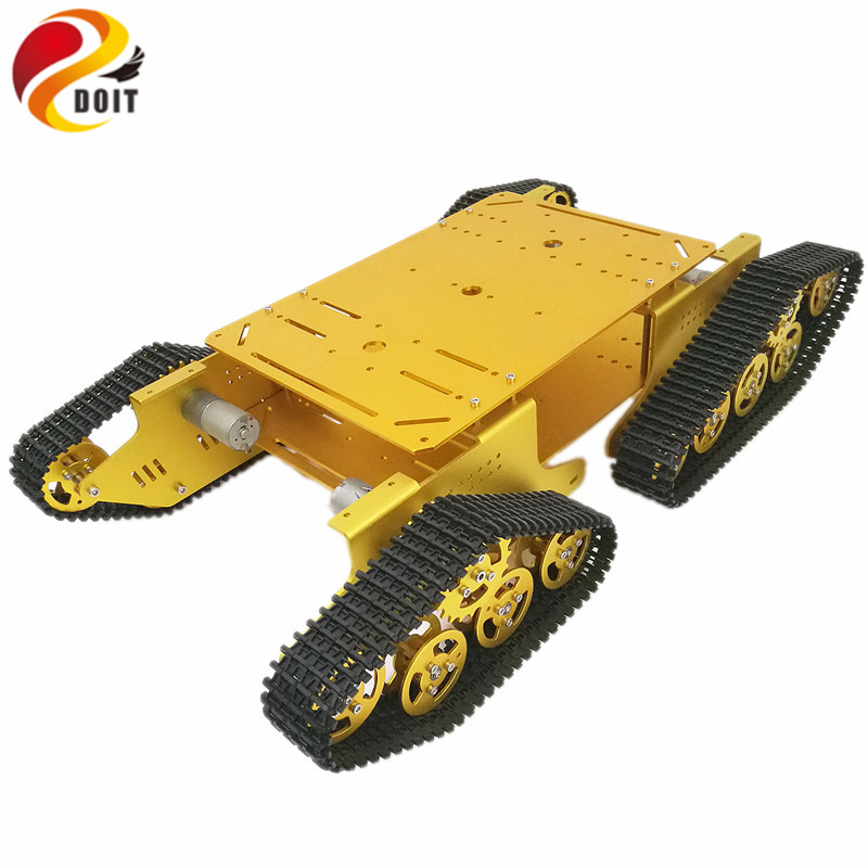 4WD Robot Tracked Tank Car Chassis TD900 with Aluminum Alloy Chassis/Frame Robotic Arm Interface Holes DIY RC Toy