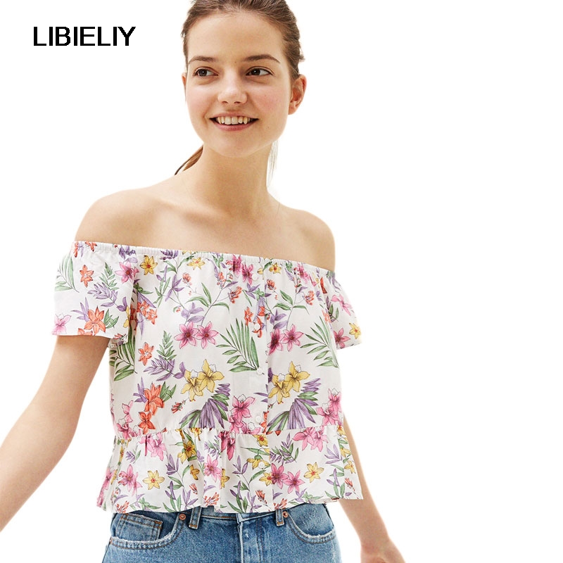 Off Shouler Floral Printed Short Blouse Women Nice Summer Fashion Ruffles Short Sleeve B ...