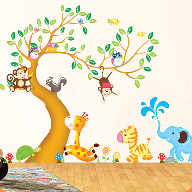 Large Animal Tree Nursery Wall Stickers For Kids Rooms Removable 3d Cute  Cartoon Children Wall Decals
