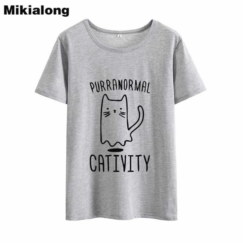 Mikialong חתול חולצה נשים חולצה 2019 Harajuku Kawaii קיץ גבירותיי למעלה טי חולצה Femme סיבתי שחור לבן ורוד נשים חולצת טי