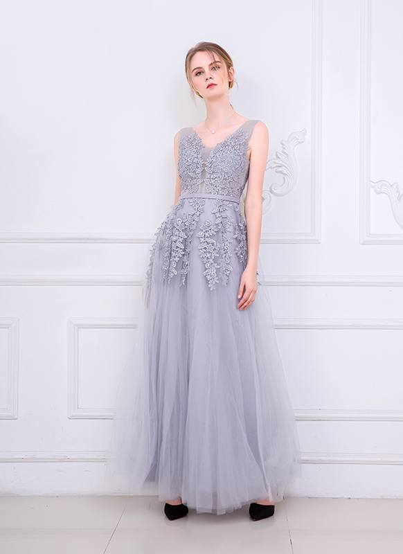Sleeveless Embroidery Bridesmaid Dress Long Style Yarn Mesh Dress Banquet Wedding Dress For Party