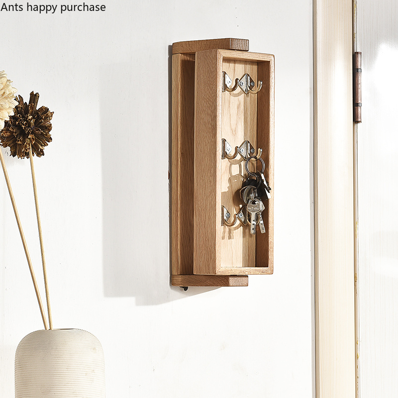 Rotate 360 degrees Solid wood mirror box hook Porch oak hanger Contracted wall hanging Creative mirror box Key hooks-in Storage Holders & Racks from Home & Garden    2
