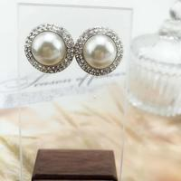 Super big pearl water drill with double rows of drill rhinestone earrings jewellery ohrringe
