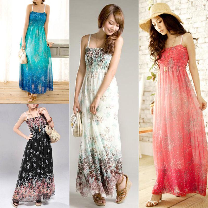 Summer Women Boho Long Party Cocktail Ladies Casual Beach Dress Sundress Strap Chiffon Long Dress