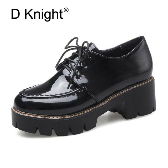 aba00af6b D Knight Patent Leather Platform Oxfords Shoes Woman High Square Heels  Pumps Shoes Fashion Office Casual