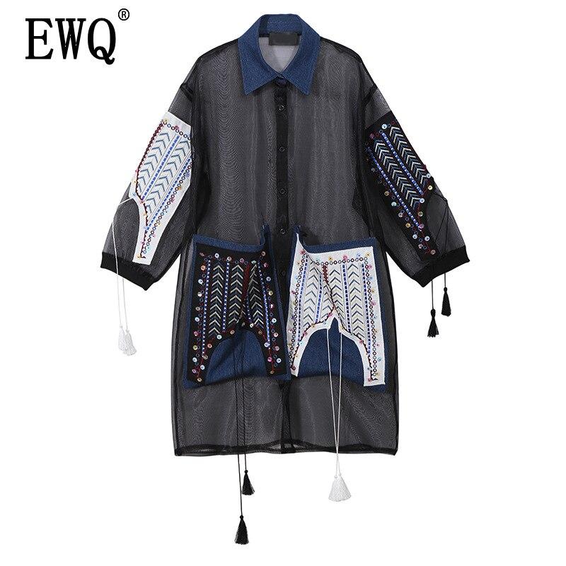 [EWQ] 2019 New Spring Summer Lapel Long Sleeve Black Organza Split Perspective Big Size Shirt Dress Women Fashion Tide JS042
