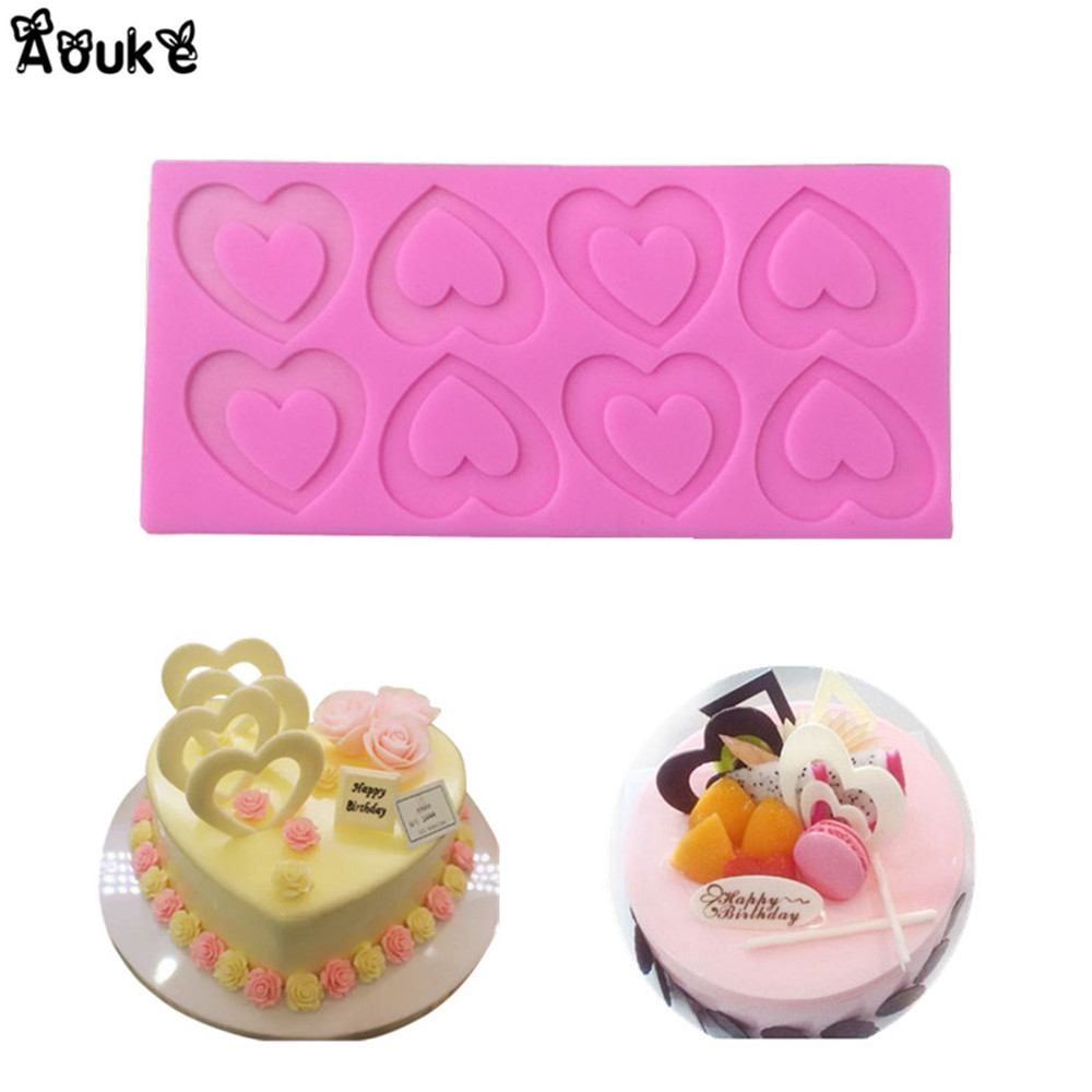 Love Heart Fondant Chocolate Silicone Mold Biscuits Cake Molds ...