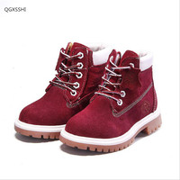 2016 High Grade Children Shoes Genuine Leather Baby Boys Shoes Martin Boots Waterproof Breathable Lace Up