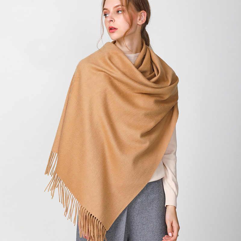ZDFURS * cálido de invierno de las mujeres de lana Pashmina bufanda Oversize dos lados impreso doble Color sólido chal dama abrigo largo de Cachemira estolas
