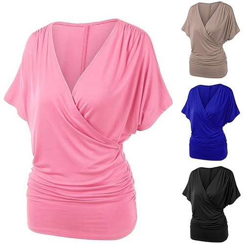 New Arrival Women Fashion Short Batwing Sleeve V-Neck Front Drape Top Casual T-Shirt