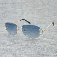 Gafas De Sol De alambre C sin montura Vintage para hombre, Gafas De verano para mujer, Gafas De lujo para hombre, Gafas De Sol con montura