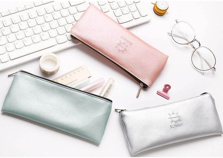Simple Sunny Pu Pencil Case Stationery Storage Organizer Bag School Office Supply Escolar Material Escolar