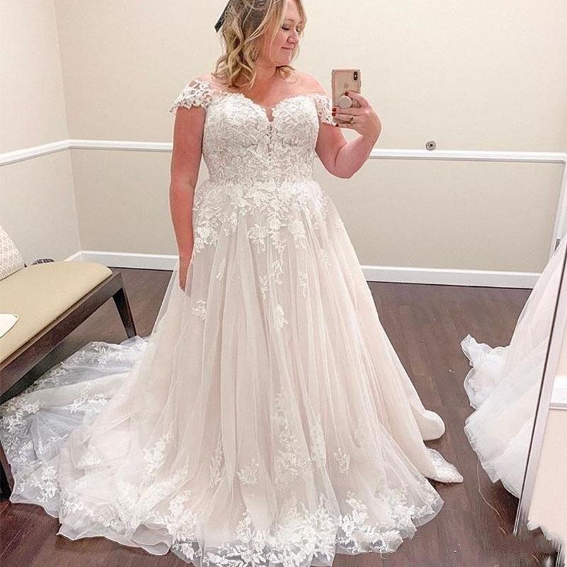 Image 3 - A Line Wedding Dresses Vestido De Noiva 2019 Off the Shoulder Lace Appliques Bridal Gowns Plus Size Elegant Robe De Mariee-in Wedding Dresses from Weddings & Events