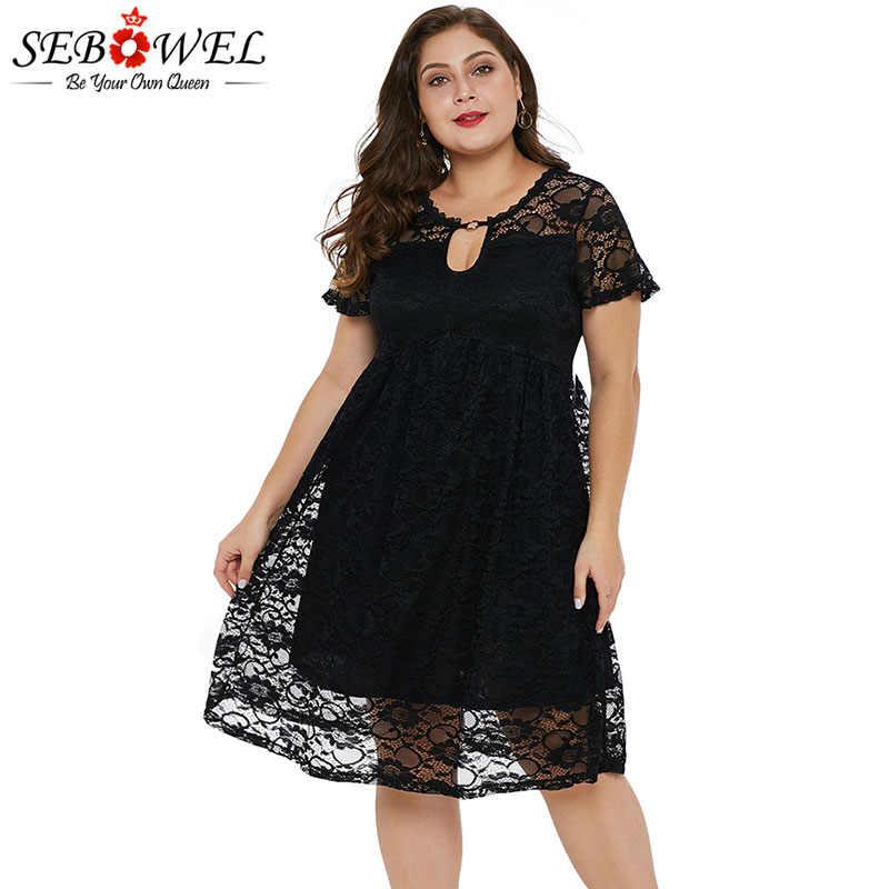 SEBOWEL Plus Size Trapeze Lace Short Sleeve Dresses Woman Summer V-back  Black/Purple Knee-Length Female Big Size Dress XL-5XL