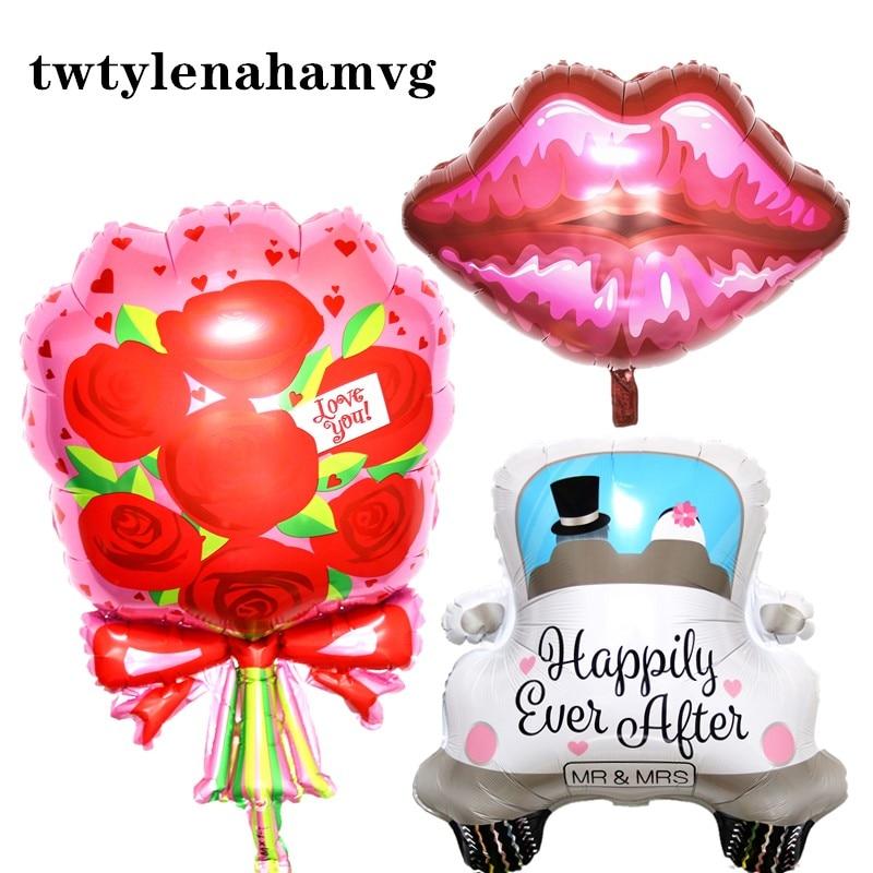 La nueva Rosa Flores regalo Día de la madre labios aire helio globo romántico coche boda feliz fiesta amor de la decoración