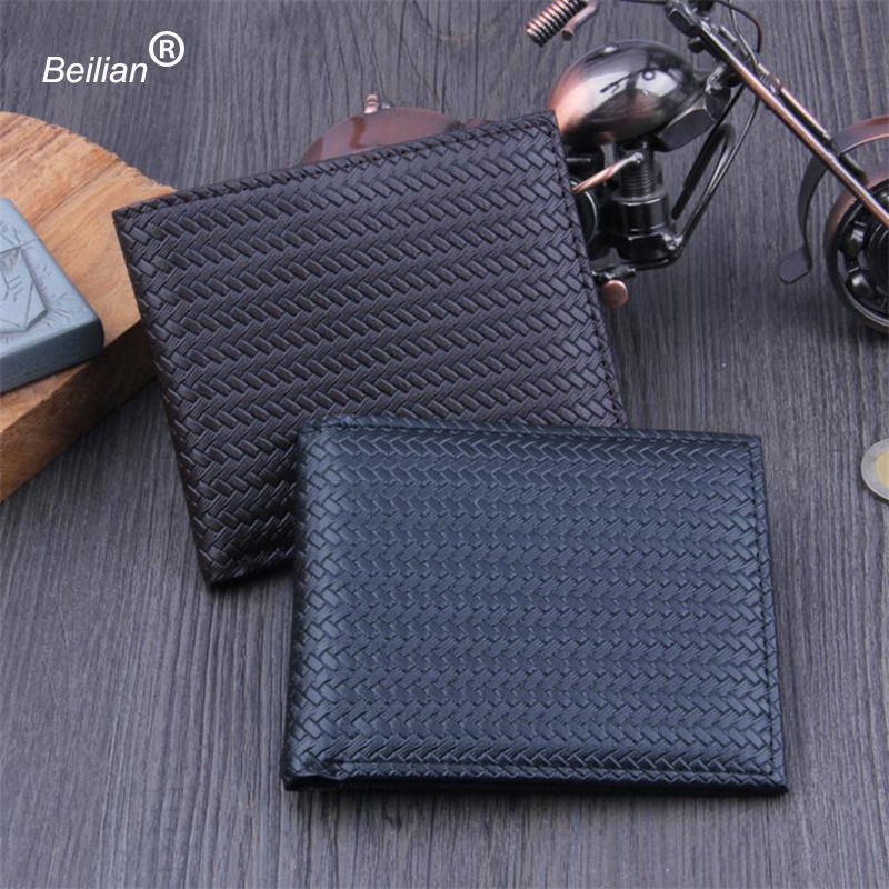Beilian PU Leather Wallet Male Card Holder Purse Short Bifold Wallet Vintage Purse Multifunctional Wallets Men Slim Money Bag