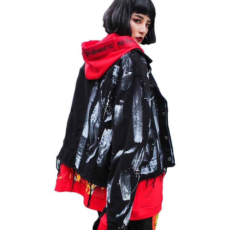 Rock Style Autumn Jacket Jeans Women Fashion Streetwear Black Denim Jacket Casual Harajuku Frayed Print Women Basic Jackets
