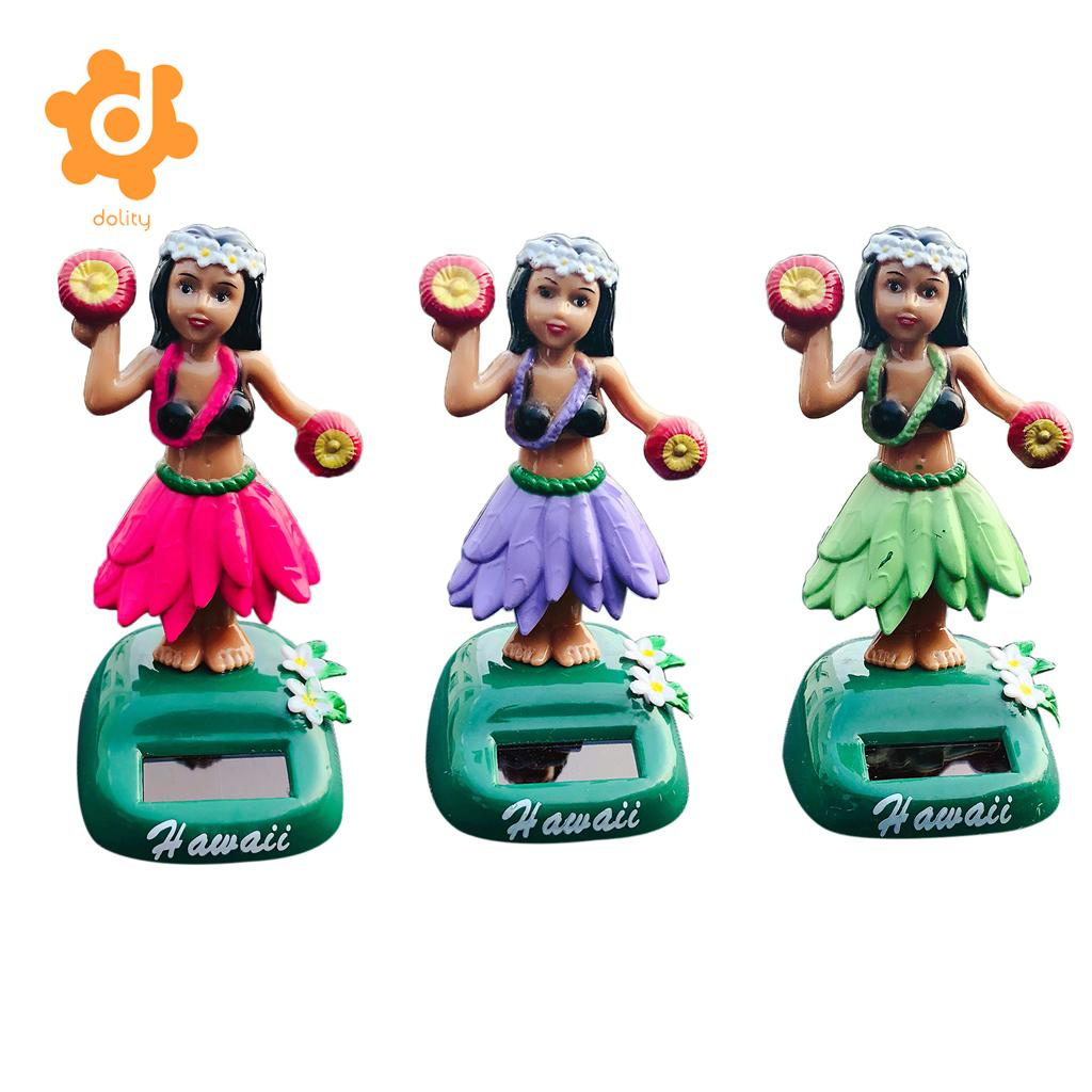 3Pcs or 6Pcs Solar Car Interior Toy Girl Dancer Hawaii Luau Party Car Dashboard Bobbleheads Bobble Toy Decoration