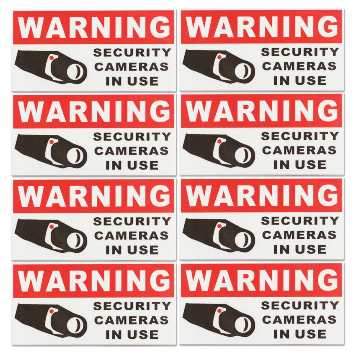 8Pcs SECURITY CAMERA IN USE Waterproof Self-adhensive Warning Stickers Safety Signs Decal