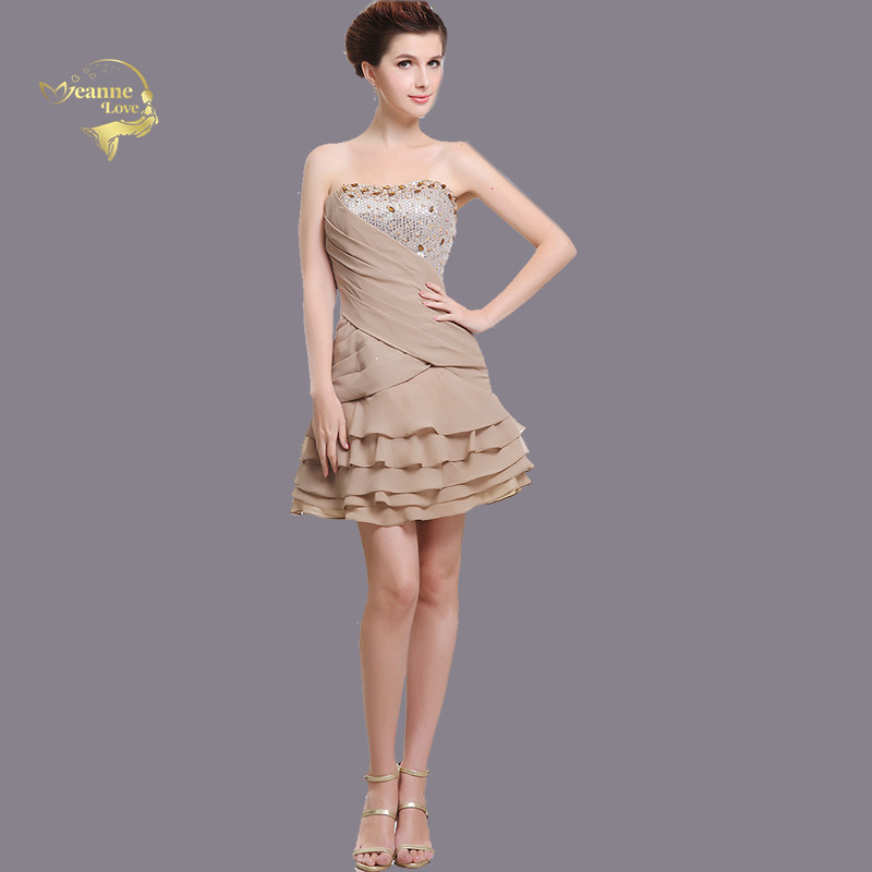 Khaki Mini Cocktail Dresses Tiered Crystal Beaded Chiffon Women Short Party Dress Beautiful Graduation Dresses For Prom Gowns
