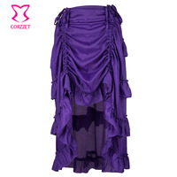 Purple Asymmetrical Ruffle Front Short Back Long Victorian Steampunk Skirt Plus Size Vintage Sexy Gothic Clothing Skirts Womens