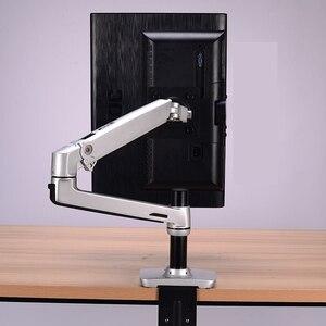 Image 5 - Porta monitor lcd de alta qualidade, suporte para monitor de lcd, braço ultrafino de liga de alumínio, suporte de montagem com presilha de mesa, monitoramento de movimento completo