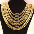 "8""-40"" 6/8/10/12/14mm 316L Stainless Steel Fashion Gold Tone Mens Curb Chain Necklace Or Bracelet Choose Jewelry Jewellery"