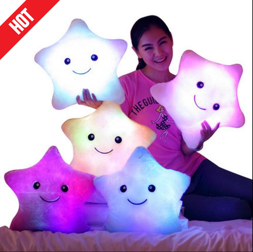 Promotion 38cm*35cm Star Led Light Pillow Cute Star Luminous Pillow with Colorful Light Birthday/Valentine's Day Gift Hot Sale