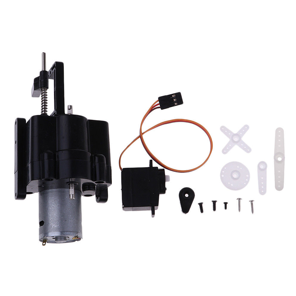 1/16 Black Gearbox Replacement RC Car Upgraded With Motor+Servo Plastics Two speed Split Shift Transfer For WPL Parts
