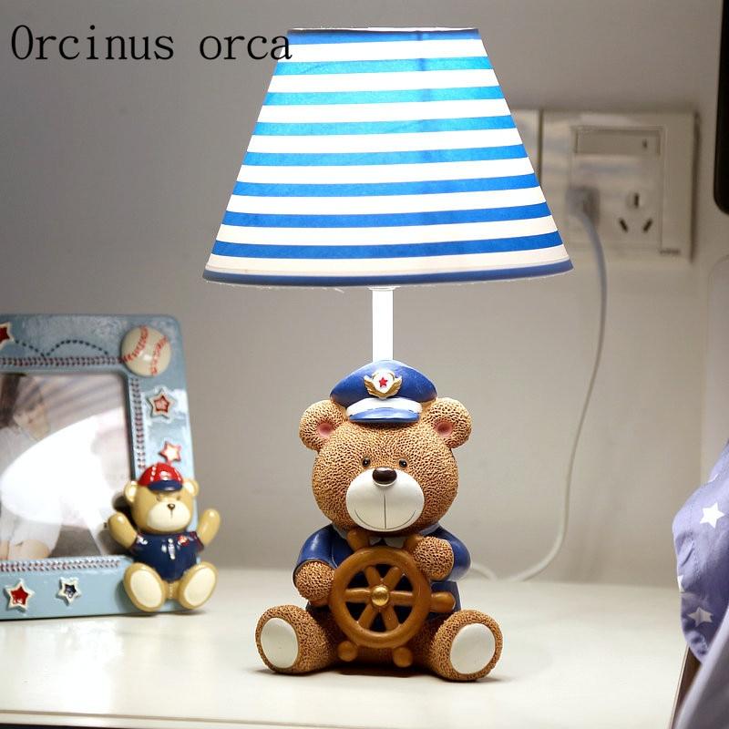Captain bear lamp warm bedroom bedside lamp dimming creative cartoon children cute boy gift Postage free