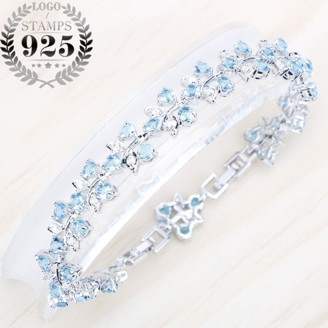 Sølv 925 smykker himmelen blå Cubic Zirconia Stones Fashion armbånd for kvinner