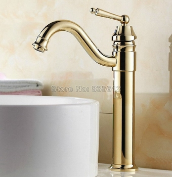 Contemporary Concise Style Gold Color Brass Swivel Spout Kitchen Sink Faucet / Single Hole Deck Mounted Basin Mixer Taps Wgf055