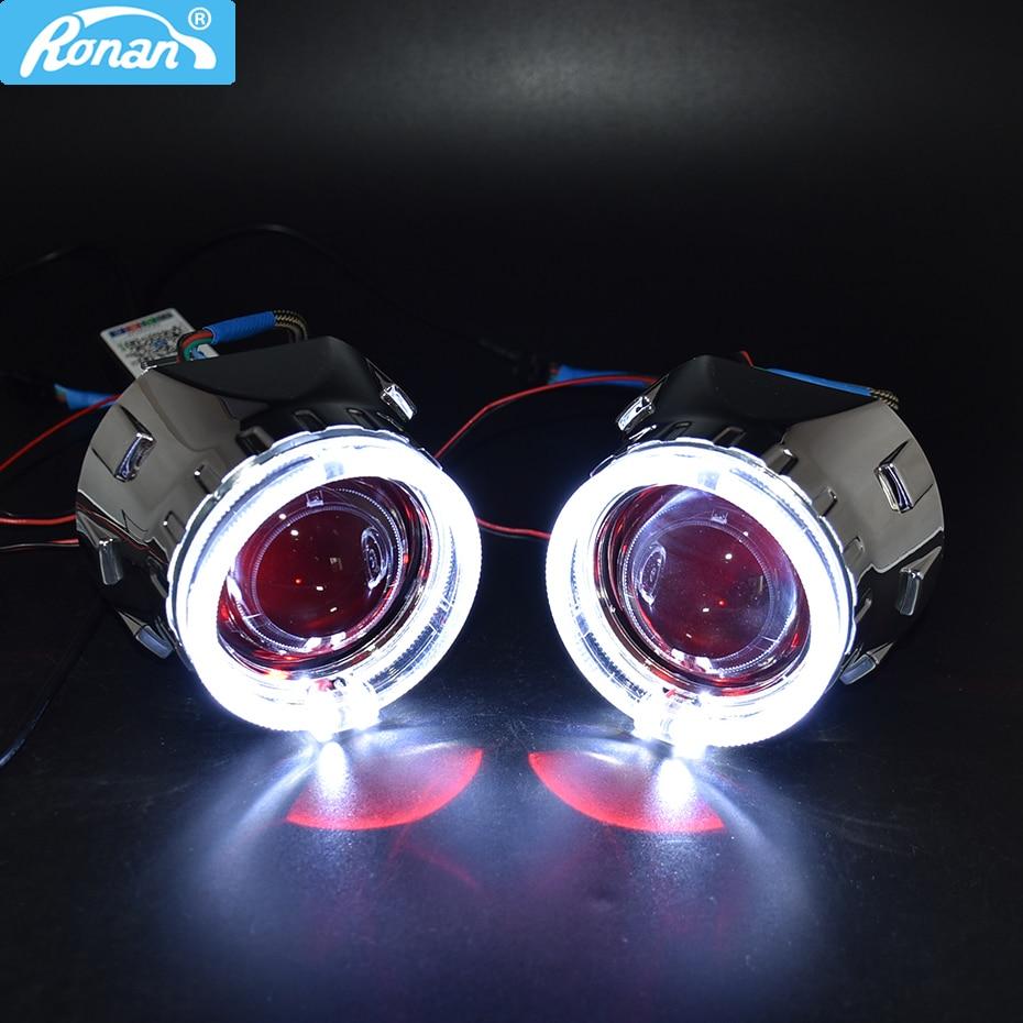 RONAN new Car Styling Bi Xenon HID Projector Lens Headlight use H1 LED Angel Eyes white