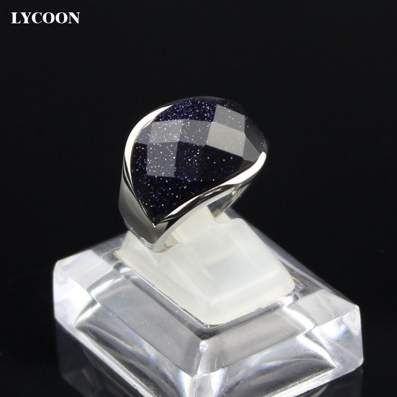 LYCOON hot sale unisex dark Blue shiny sand jewelry Ring high quality 316L Stainless steel luxury ring for women in silver color