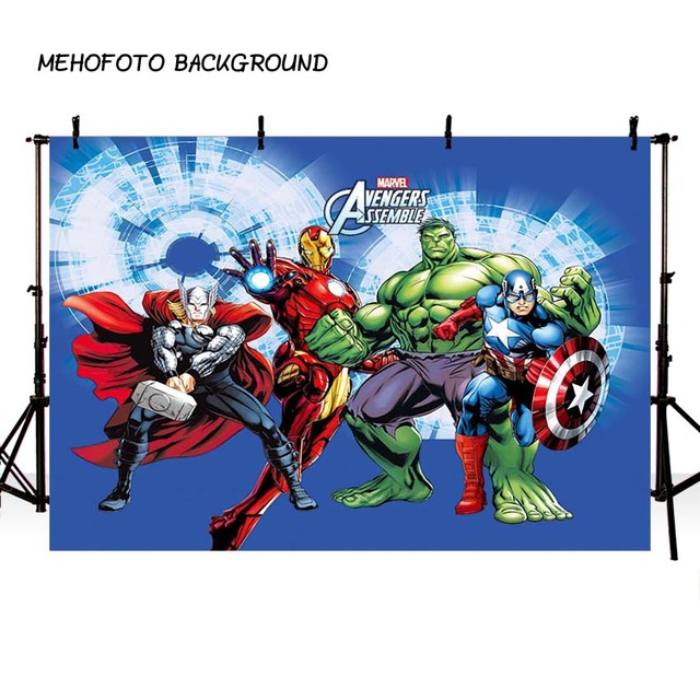 MEHOFOTO Superhero Photography Backdrop Cartoon Avengers Theme Birthday Photo Background for Pictures Party Decorate
