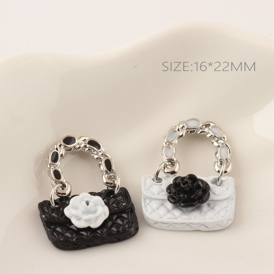 Fashion Black White Rose Flower Decorated Enamel Alloy Charms Women Handbags Bag Pendant ...